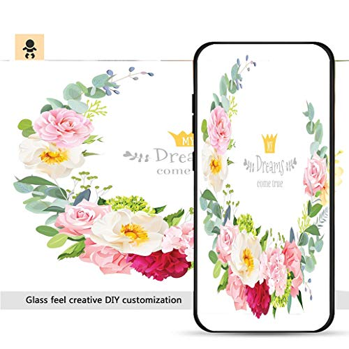 iPhone 7p / 8p Ultra-Thin Phone case Floral Vector Design Round Frame Rose Peony Hydrangea Camellia Carnation_ Resistance to Falling, Non-Slip, Soft, Convenient Protective case
