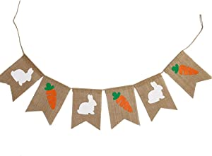oremila Bunny Banner, Cute Burlap Banners with Bunny and Carrot Bunting Garland Flags Banner for Home/Baby Birthday Party Decor/Photo Props and Backdrop (Rabbit and Carrot)