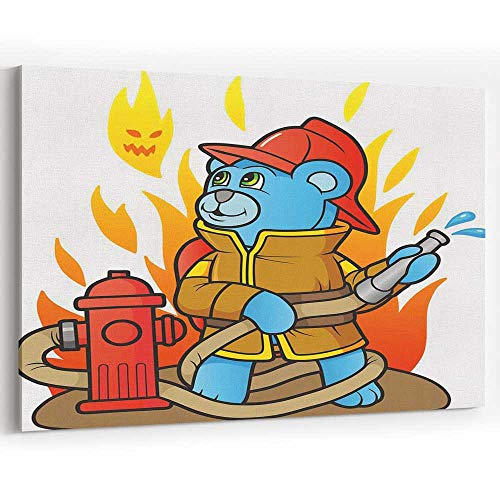(Teddy Bear Firefighter Canvas Art Wall Dector Painting Wall Art Picture Print on Canvas)