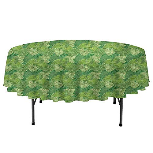 (Douglas Hill Green Easy to Care for Leakproof and Durable Round tablecloths Abstract Hosta Plants Lush Forest Growth Leaves Ecology Jungle Theme Outdoor Picnic D59 Inch Fern Lime and Pale Green)
