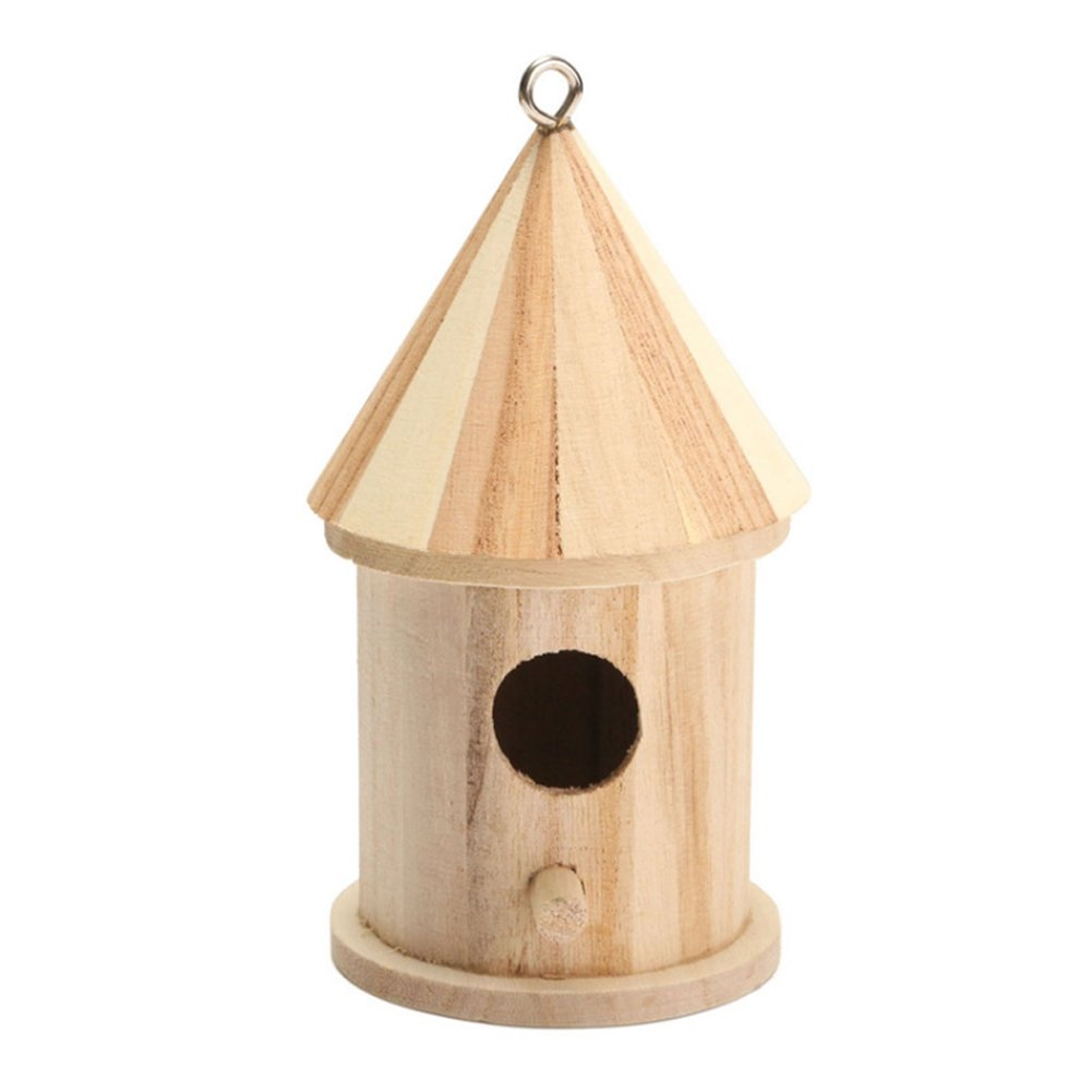 Dreammy New Wooden Bird House Birdhouse Hanging Nesting Box Hook Home Garden Decor