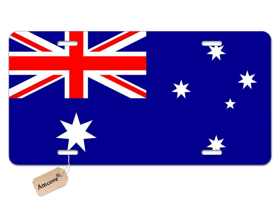 Amcove License Plate Australia Flag Decorative Car Front License Plate,Vanity Tag,Metal Car Plate,Aluminum Novelty License Plate for Men//Women//Boy//Girls Car,6 X 12 Inch
