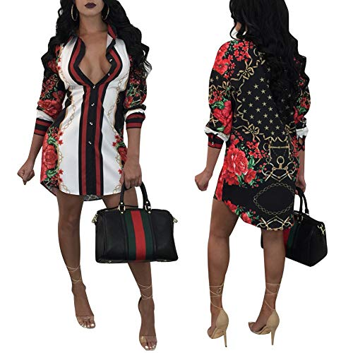 Women's Helios Stripe T-Shirt Dress - Button Down Long Sleeve Collar Loose Blouse Tops Mini Dress Black L