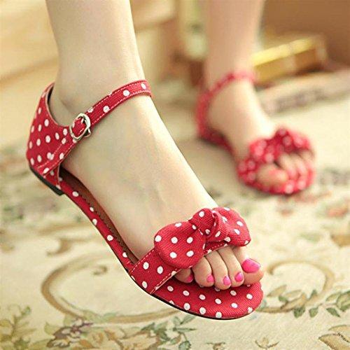 Deesee (tm) Dolce Polka Dot Bow Shoes Gentlewomen Breve Hasp Sandali Femminili Rossi