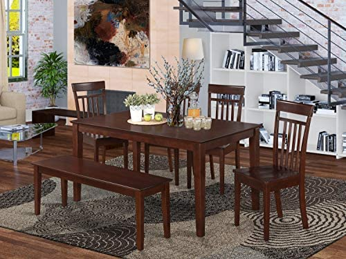 East West Furniture CAP6S-MAH-W Small Dining Table Set 6 Pc