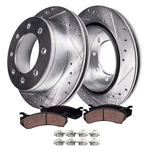 Cab Brake Pad - Detroit Axle - Pair (2) Rear Drilled and Slotted Disc Brake Rotors w/Ceramic Pads w/Hardware for 2006 2007 2008 Dodge Ram 1500 Mega Cab - [2003-2008 Ram 2500/ Ram 3500]