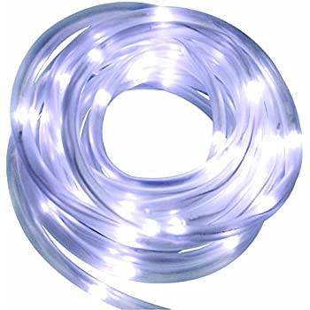 Solar Rope Tube White 50 LED String Garden Light Inside/Outside 16 feet long total length - Wall ...