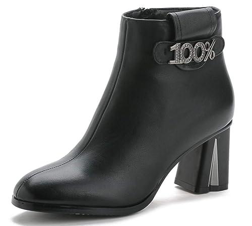 Shiney Botines De Tacón Alto para Mujer 2018 Invierno Cuero Genuino Puntiagudo Botas De Piel De Vaca De Moda: Amazon.es: Zapatos y complementos