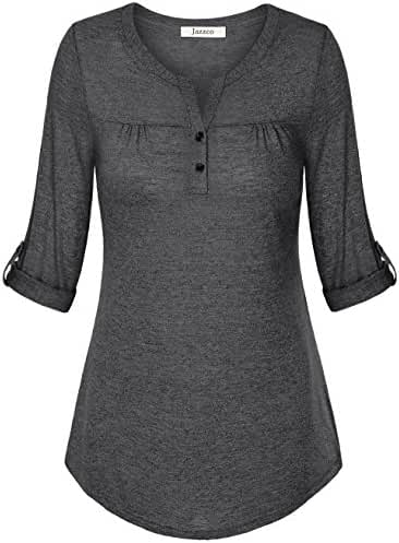 Jazzco Women's Henley V Neck Cuffed Sleeve Soft Shirred Blouse Tops