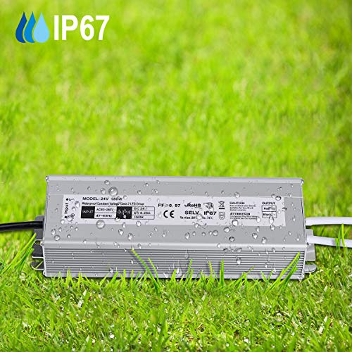 LED Driver 150 Watts Waterproof IP67 Power Supply Transformer Adapter 85V-265V AC to 24V DC Low Voltage Output with 3-Prong Plug 3.3 Feet Cable for LED Light, Computer Project, Outdoor Light by NIYIPXL (Image #5)