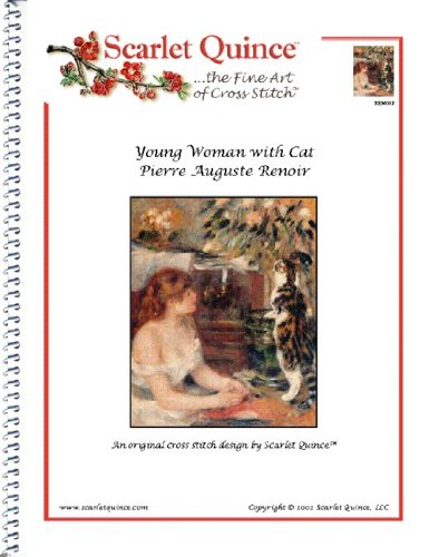 18k Green Cross - Scarlet Quince REN002 Young Woman with Cat by Pierre Auguste Renoir Counted Cross Stitch Chart, Regular Size Symbols
