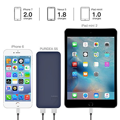 PURIDEA S5 7000mAh 2 1A Output Portable Charger, Dual USB