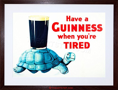 AD DRINK ALCOHOL IRISH STOUT ALE TORTOISE BLUE SHELL GLASS FRAMED PRINT F12X2208 Dark Ale Frame