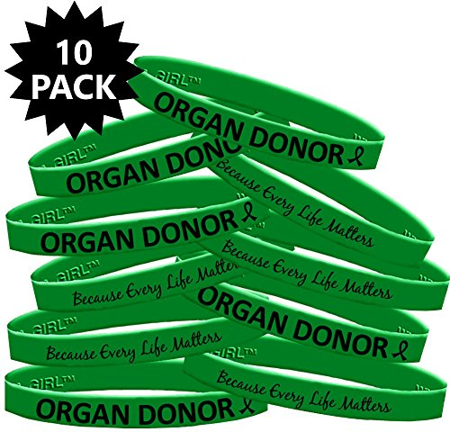 Organ Donor Silicone Wristband Bracelets Organ Donation 10-Pack (Green)