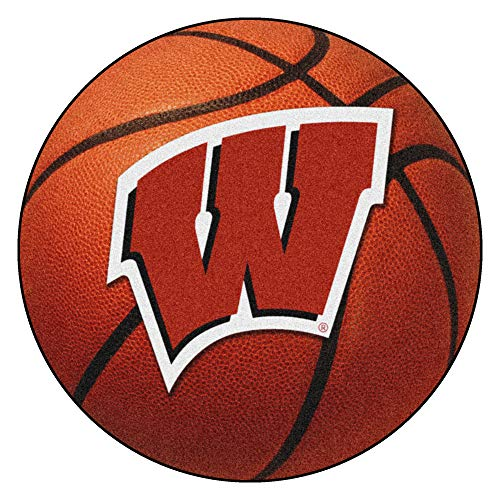 FANMATS NCAA University of Wisconsin Badgers Nylon Face Basketball Rug