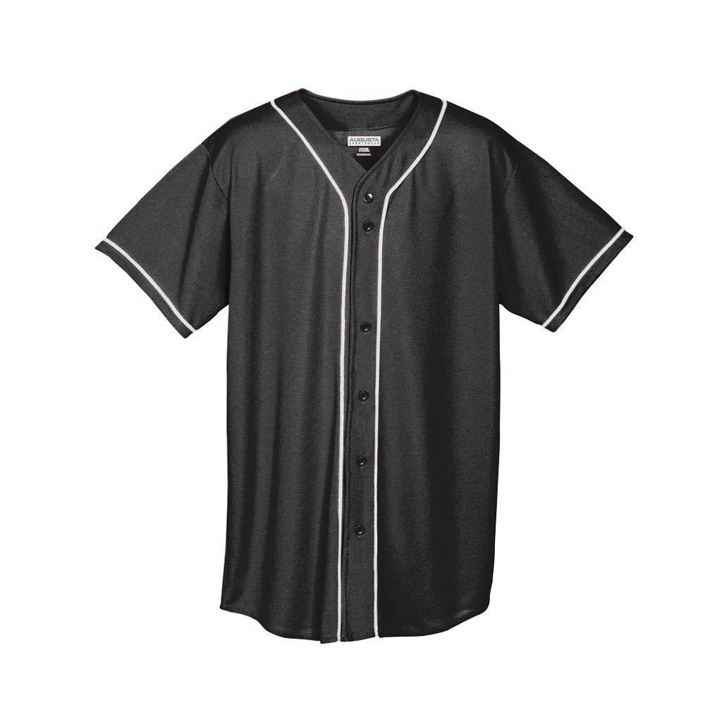 Augusta Sportswear Augusta Wicking Mesh Button Front Jersey with Braid Trim, Black/White, Small by Augusta Sportswear