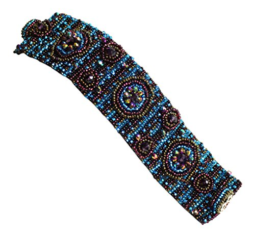 Enchanted Imports Nine Circles Design Beaded Bracelet Cuff with Double Magnetic Clasp, Handmade in Guatemala (Desert ()