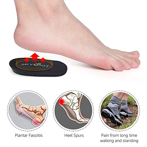 Skyfoot's Heel Cups, Gel Heel Cushions for Plantar Fasciitis, Heel Pain, Bone Spur, Shock Absorbing, Achilles Pain and Leg Length Discrepancy(Medium - Women\'s 6-9|Men\'s 5-8)