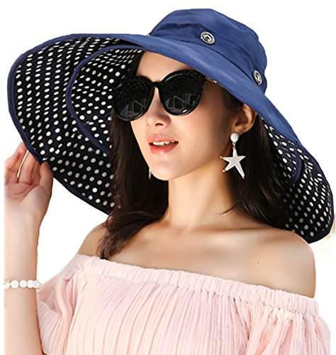 Packable Extra Large Brim Floppy Sun Hat Reversible UPF 50+ Beach Sun Bucket Hat (Deep Blue-Dot)