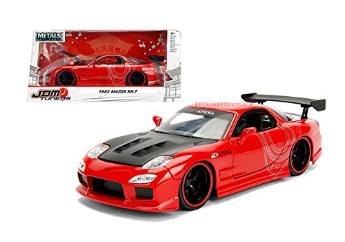 Red Rx Car 7 Mazda - 1993 Mazda RX-7 Red with Black Hood JDM Tuners 1/24 Diecast Model Car by Jada 98677
