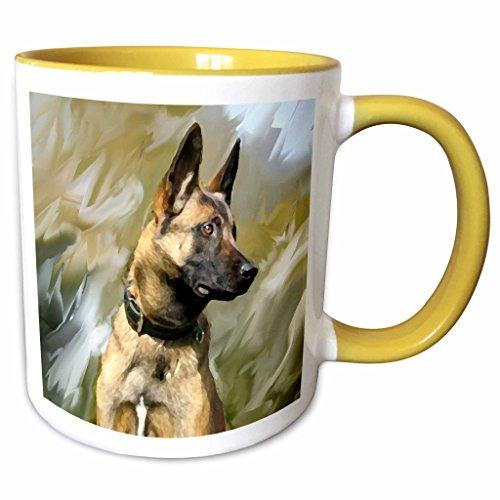 3dRose Dogs Belgian Malinois - Belgian Malinois - 11oz Two-Tone Yellow Mug (mug_4385_8) (Belgian Malinois Mug)