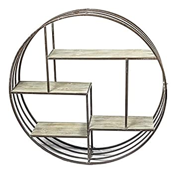 Sagebrook Home 11050 Metal & Wood Wall Shelf, Brown Metal, 31.5 x 7.25 x 31.5 Inches