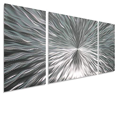 Statements2000 Silver Metal Wall Art by Jon Allen - Modern Abstract Metal Panel Wall Art - Home Decor, Home Accent, Contemporary Metallic Wall Sculpture, Enlivenment III, 50