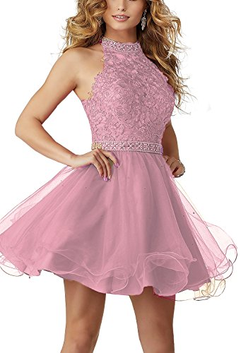 (gsunmmw 2018 High Neck Lace Beaded Short Homecoming Dress Halter Tulle Cocktail Prom Party Dresses GS004)