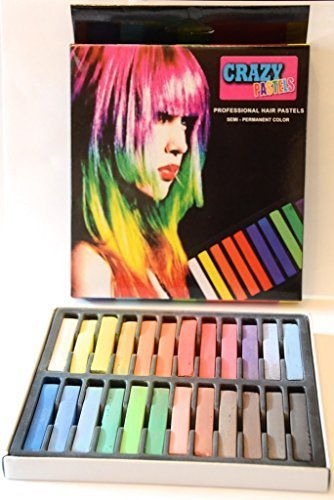 Crazy Pastels Soft Pastel Hair Colour Chalk Dye Semi Permanent Temporary & Non Toxic For Home & Salon Use- 24 Mixed Colours Chalkin Kit by Crazy Pastels