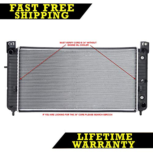 RADIATOR FOR SILVERADO ESCALADE TAHOE SUBURBAN FITS 34 INCH CORE W/O EOC 2423 (Replacement Escalade Cadillac Radiator)