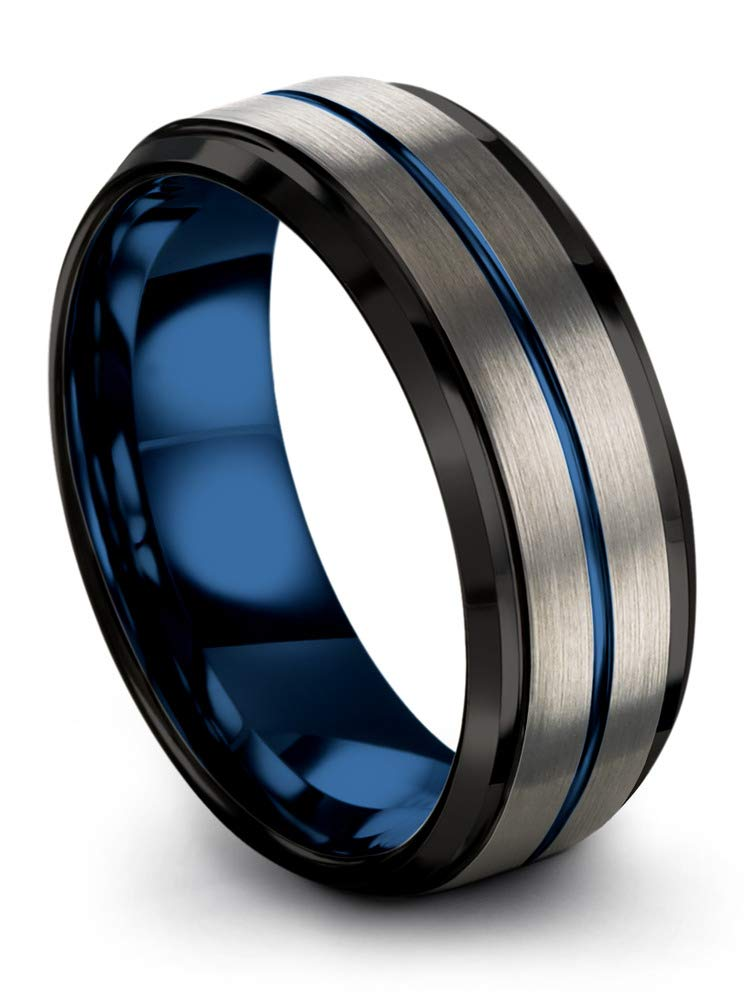 Chroma Color Collection Tungsten Wedding Band Ring 8mm for Men Women Blue Interior Blue Center Line Step Bevel Edge Black Grey Brushed Polished Size 10.5
