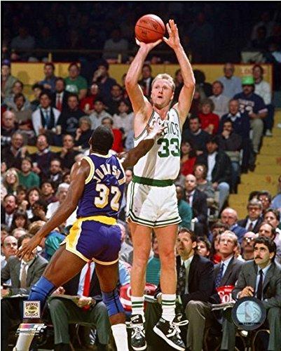 Larry Bird & Magic Johnson NBA Action Photo (Size: 16