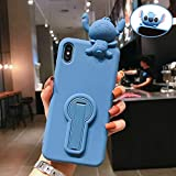 Rhine for iPhone Xs MAX XR X 3D Stitch Soft Stander Phone Case for iPhone 8 7 Plus Cute Cartoon Lover Cover Shell (Blue, for iPhone XR)