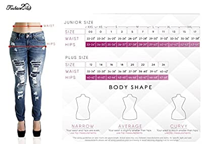 Fashion2Love N2418R-P - Plus Size, Butt Lifting, Destroyed, Ripped, Sexy Skinny Jeans