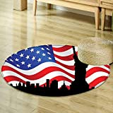 Mikihome Round Area Rug Carpet American Flag Decor Silhouette of Statue of Liberty on Stars Stripes Background Landmark Print Multi Living Dinning Room and Bedroom Rugs R-24