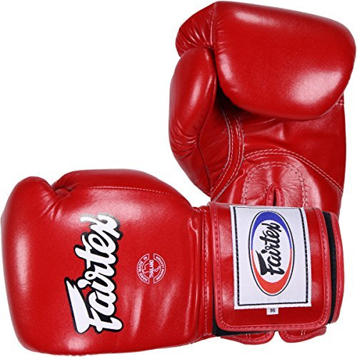 (Fairtex Super Sparring Gloves BGV5 Solid Black (Red, 16)