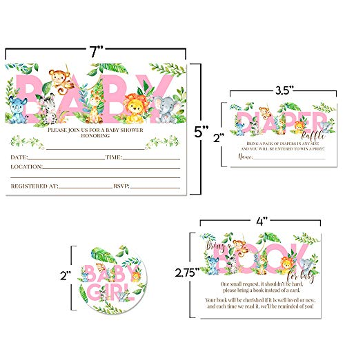 """Deluxe Watercolor Jungle Animals Baby Shower Party Bundle for Girls, Includes 20 each of 5''x7'' Fill In Invitations, Diaper Raffle Tickets, Bring a Book Cards & 2"""" Thank You Favor Stickers w/ Envelopes by Amanda Creation (Image #5)"""