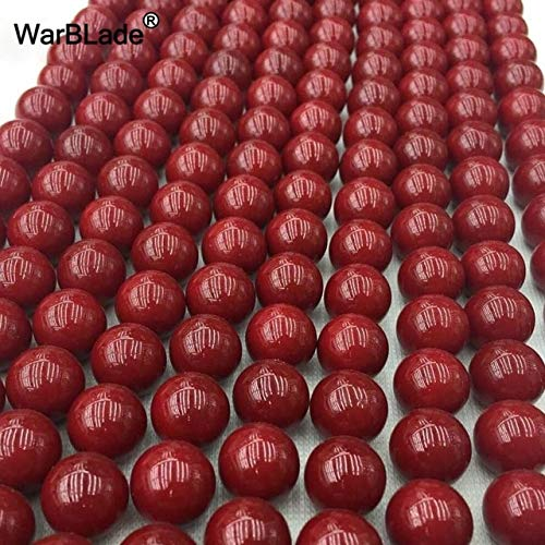Calvas 4mm 6mm 8mm 10mm Natural Stone Red Coral Beads Round Loose Beads for DIY Bracelet Necklace Jewelry Making Findings - (Color: Dark red, Item Diameter: 10mm Approx 38PCs) ()