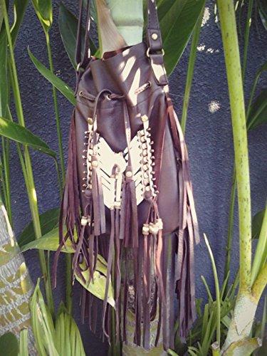 stile in scuro Borsa borsa pelle americano a Borsa tracolla nativo indiana marrone qnaY1dZ