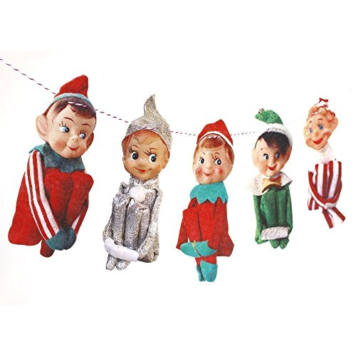 Handmade Vintage Christmas Elves Banner - photo reproductions on felt (Christmas Elf Pictures)