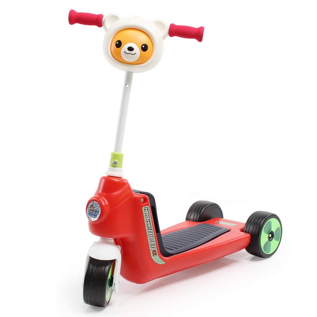 2-in-1多目的子供のスクーター子供三輪車音楽赤ちゃんのおもちゃの車のツイストカーキックスクーターリフト可能な座席は乗ることができる (色 : Red)  Red B07PQ41J7Q
