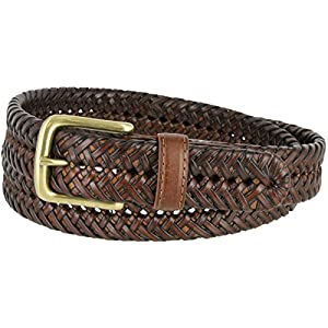 20155 Men's Braided Woven Casual Dress Leather Belt with buckle - Tan 40