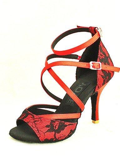 Women's Customizable Shoes Salsa ShangYi Black Customized Red Latin Dance Yellow Yellow Heel Lace dqtx5A5