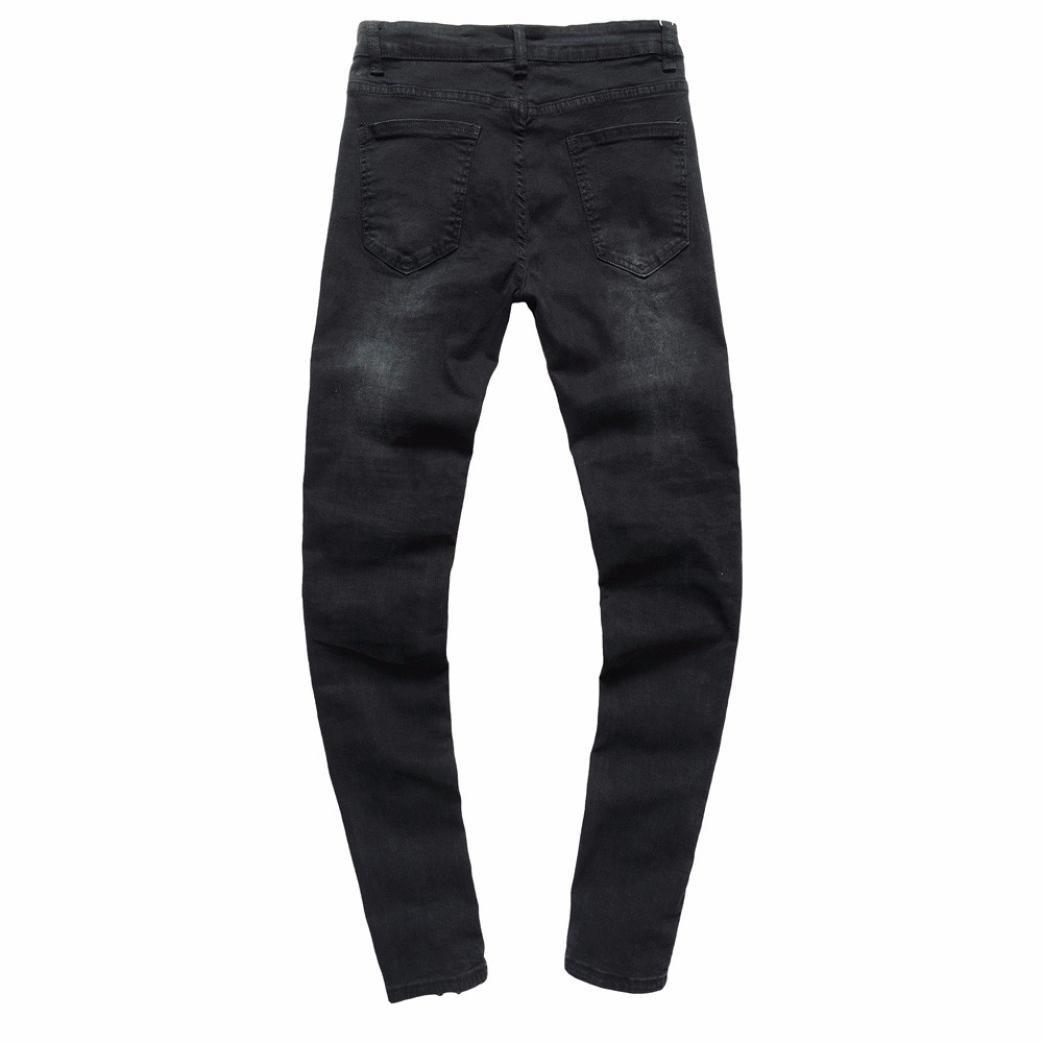 Zarupeng Herren Vintage Schwarz Jeanshose Zerrissen Slim Fit Jeans Hiphop Streetwear Hosen