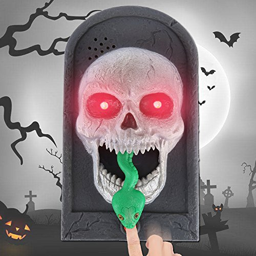 Cherry Juilt Halloween Decorations Animated Doorbell with Scary Sound and Light Up Battery Powered Scary Decorations for Door(Skull) for $<!--$9.99-->