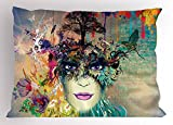 Lunarable Colorful Pillow Sham, Abstract Floral Arrangement with Woman Portrait Birds and Color Splashes on Wall, Decorative Standard King Size Printed Pillowcase, 36 X 20 inches, Multicolor