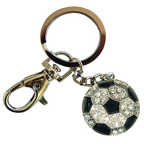 Keychain Ball Shaped - Sports Novelties Soccer Ball Shaped Bling Keychain, White/Black