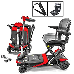 Transformer Automatic Foldable Lithium Powered Travel Scooter RED + Cane & Cup Holder by Solax