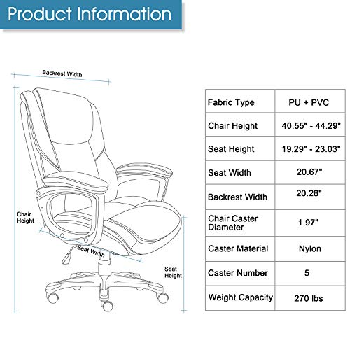 Executive Office Chair with Brown Leather, Swivel Desk Chair for Home and Office, Ergonomic Computer Chair with Adjustable seat by Becozier (Image #8)