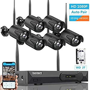 [2019 Newest Strong Version ] Wireless Security Camera System, ISOTECT 8CH Full HD 1080P Video Security System, 6pcs Black Outdoor/Indoor IP Cameras, 65ft Night Vision and Easy Remote View, 2TB HDD